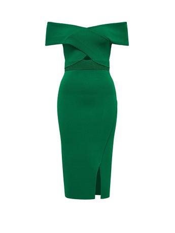 Luna Cross Front Bardot Dress