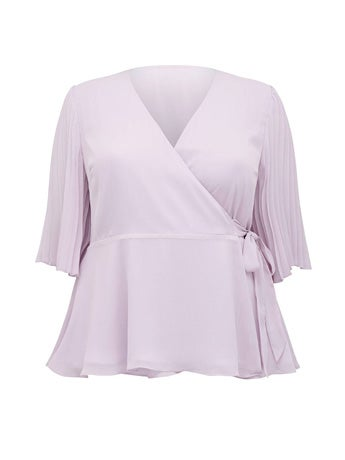 Thea Curve Pleat-Sleeve Wrap Blouse