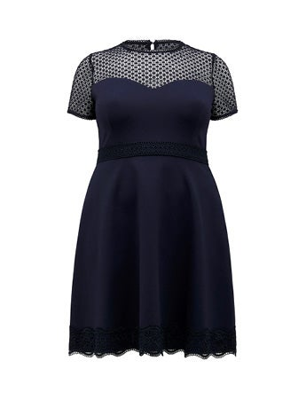 Daria Curve Lace-Trim Ponte Dress