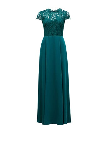 Macie Cap Sleeve Lace Bodice Gown