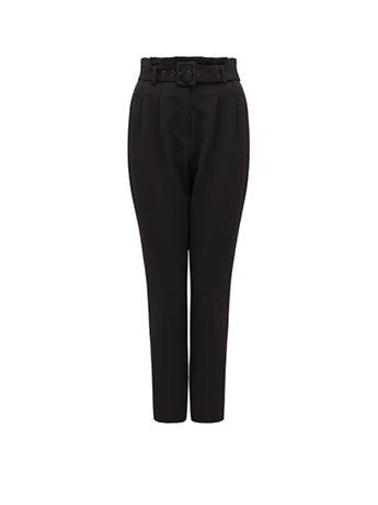 Tori High-Waist Paper Bag Slim Pants