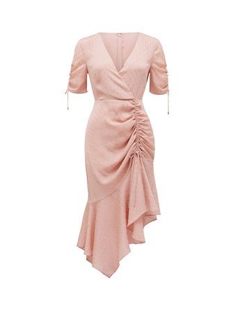 Aleena Ruched Asymmetrical Wrap Dress