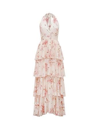 Kristen Halterneck Layered Maxi Dress