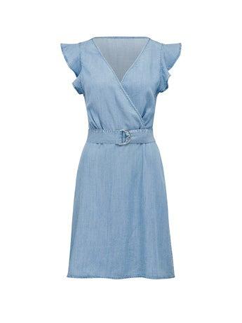 Olivia Frill Wrap Denim Dress
