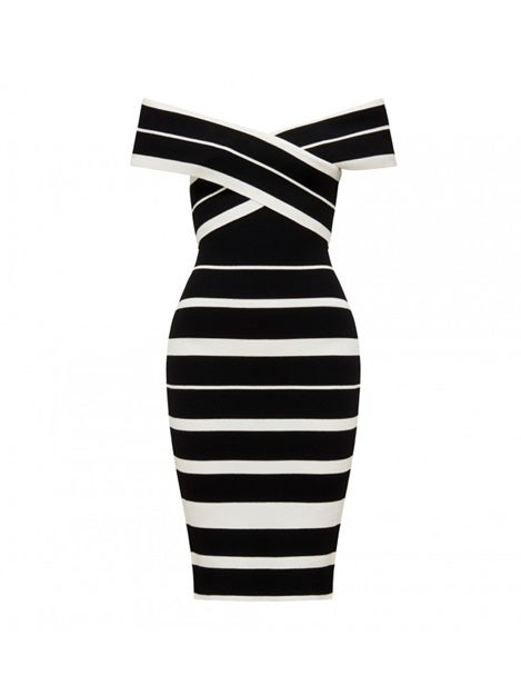 Kathleen Stripe Bardot Dress