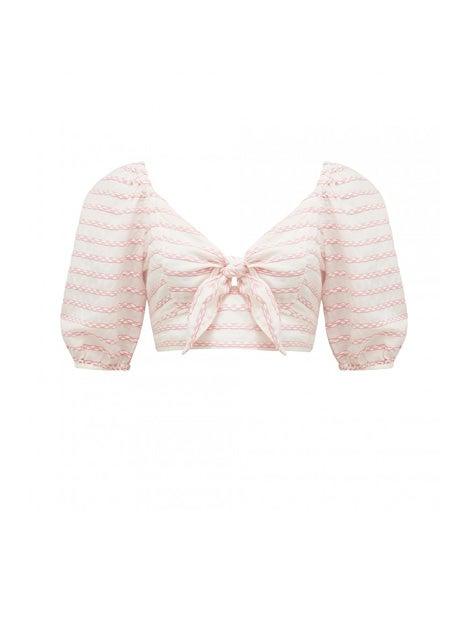 Olivia Tie Front Stripe Crop