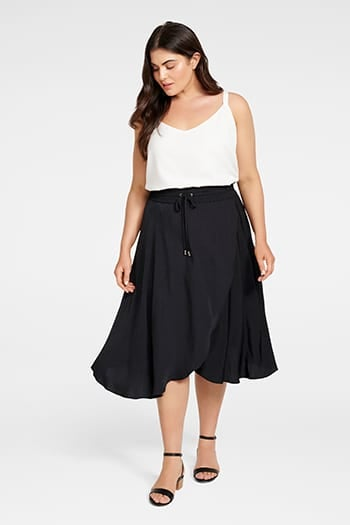 <b>Clara</b><br>Elastic Waist<br>Curve Wrap Skirt