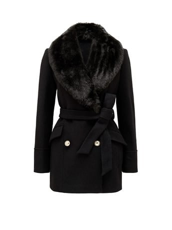 Whitney Cropped Faux Fur Collar Coat