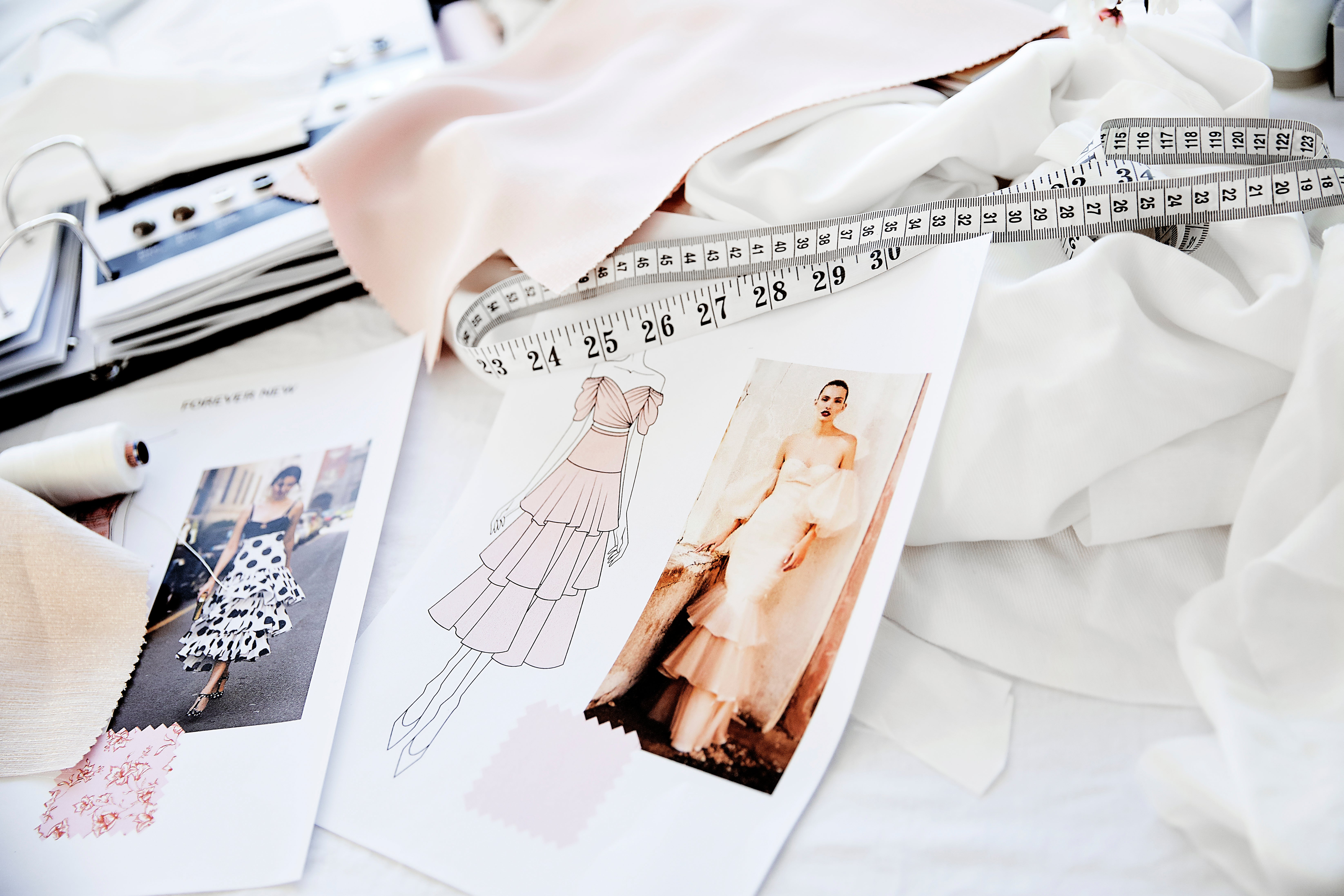 Mood board and fashion illustration sketches.