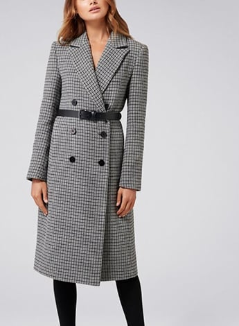 Isla Belted Check Coat