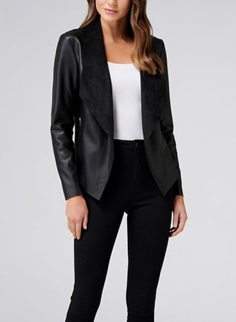 Leah PU Waterfall Jacket