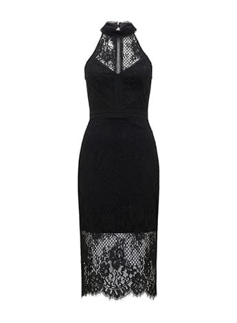 Lena High Neck Lace Bodycon Dress