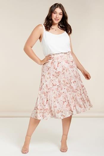<b>Lucy</b><br>Curve Elastic-Waist Pleat Skirt