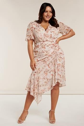 <b>Ellie</b><br>Curve Ruched Wrap Dress