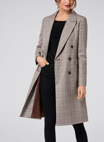 Selma Check Crombie Coat