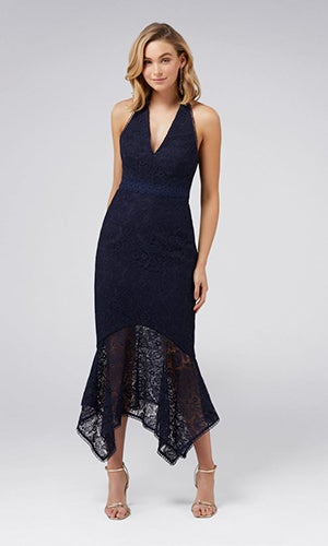 <b>Tomeeka</b><br>Halterneck Lace Midi Dress
