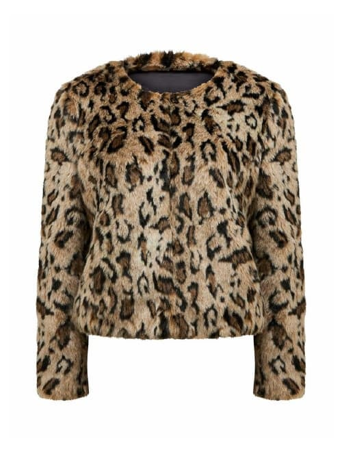 Jenna Leopard<br>Faux Fur Coat