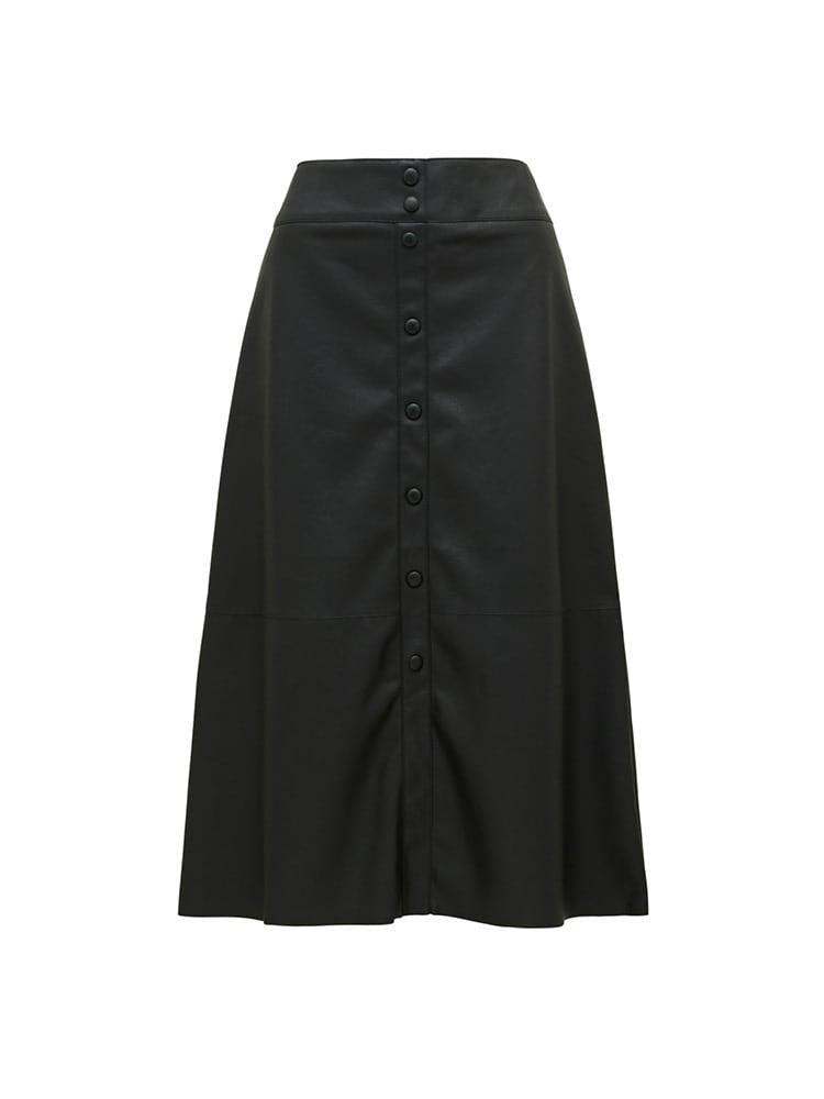 Abbie A Line PU Button Down Skirt
