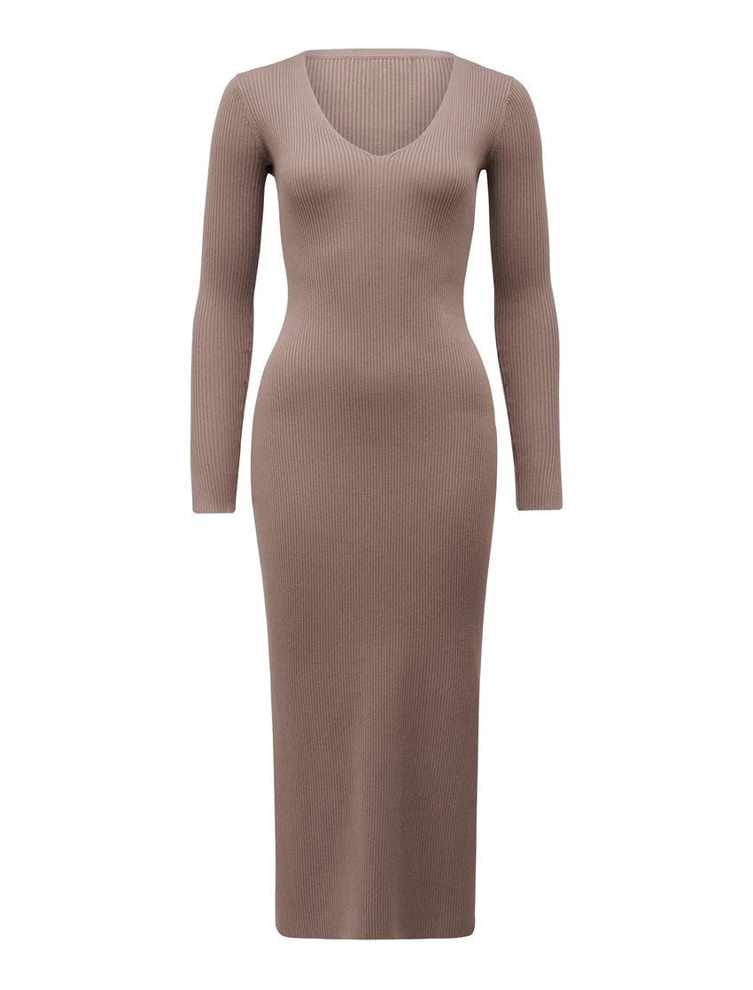 Kourtney V-Neck Rib Knit Dress