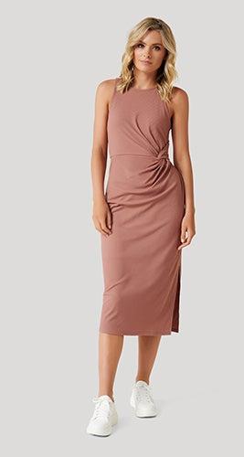 Nicola Racer-Back Jersey Midi Dress