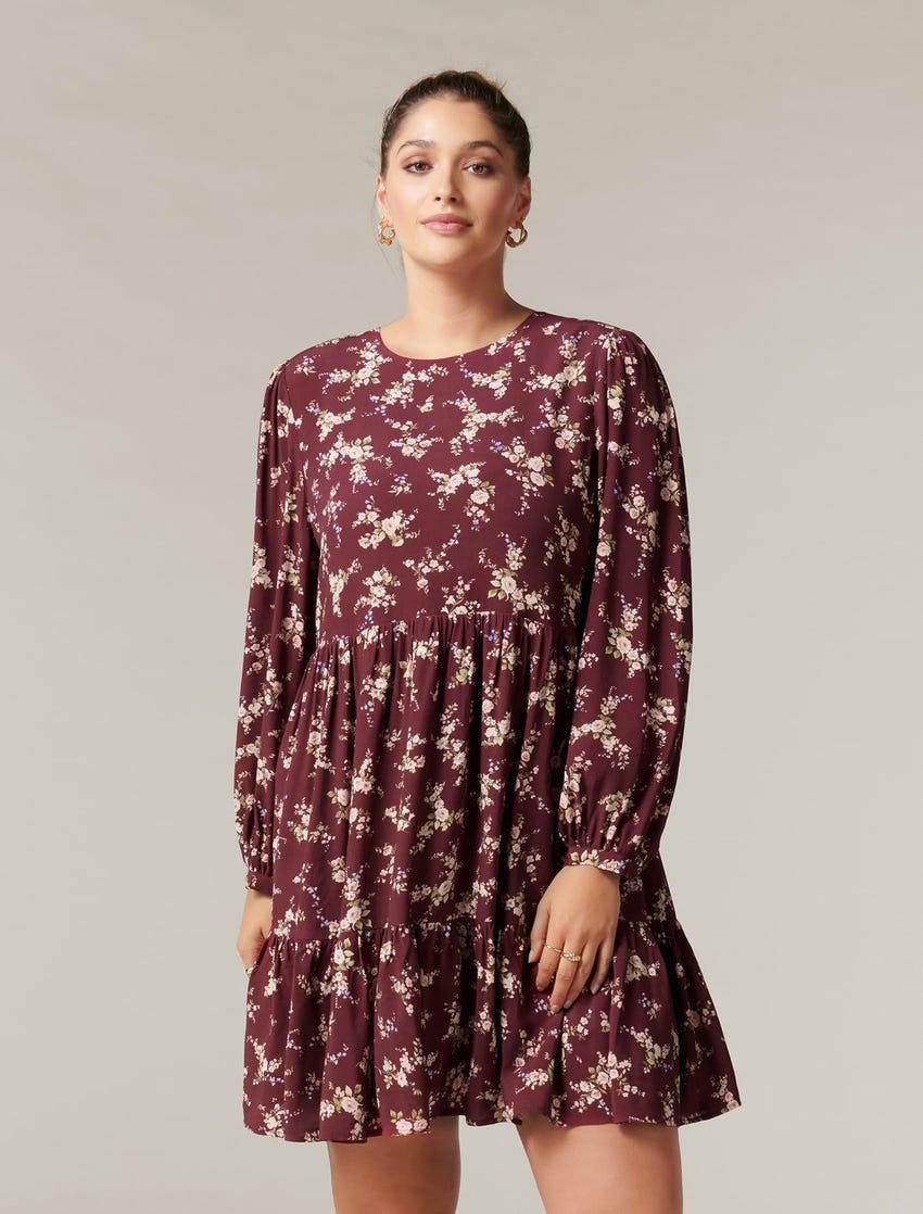Eden Curve Long-Sleeve Smock Dress