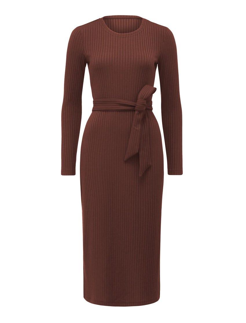 Scarlet Tie Rib Midi Dress