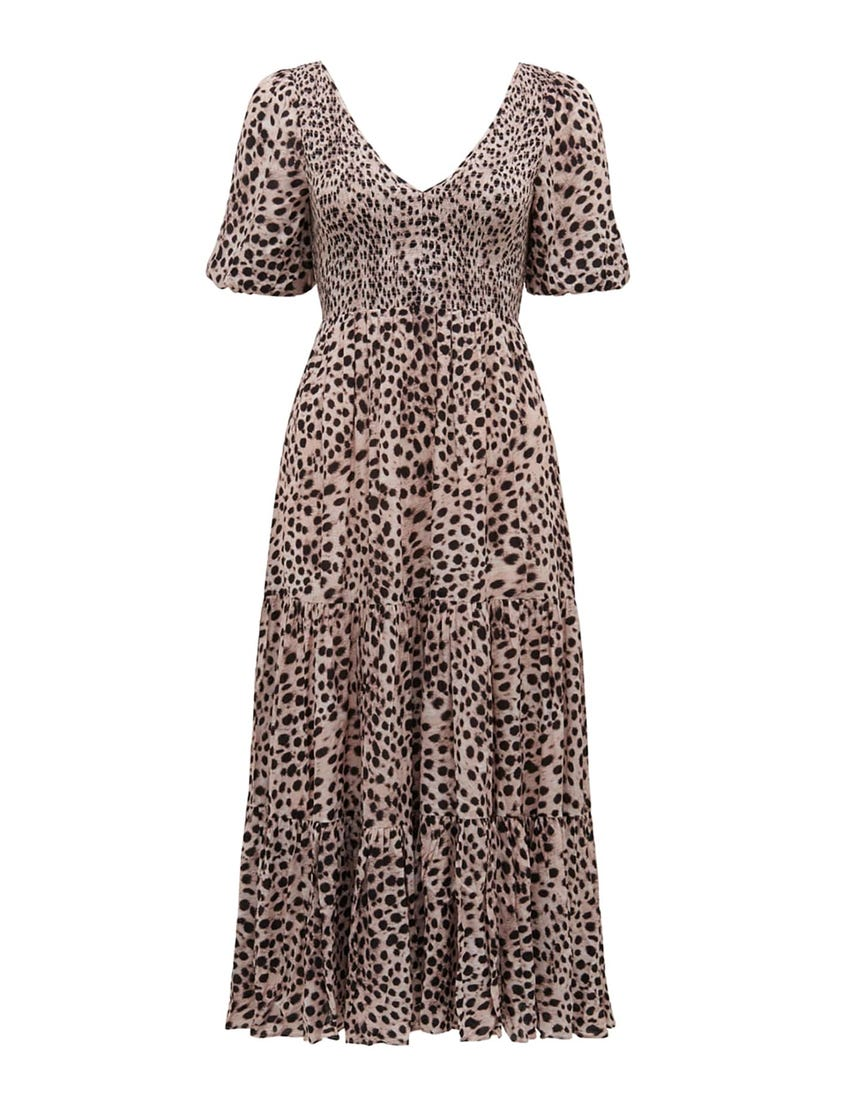 Amy Tiered Animal Midi Dress