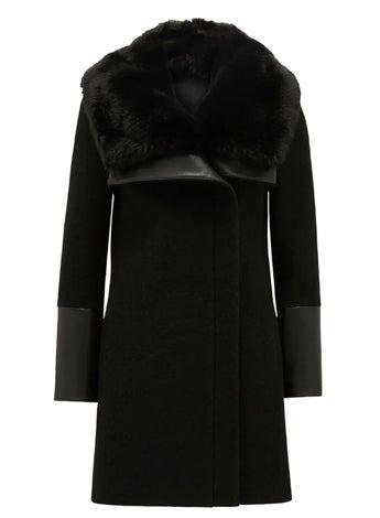 Ellery Fur Collar Biker Coat