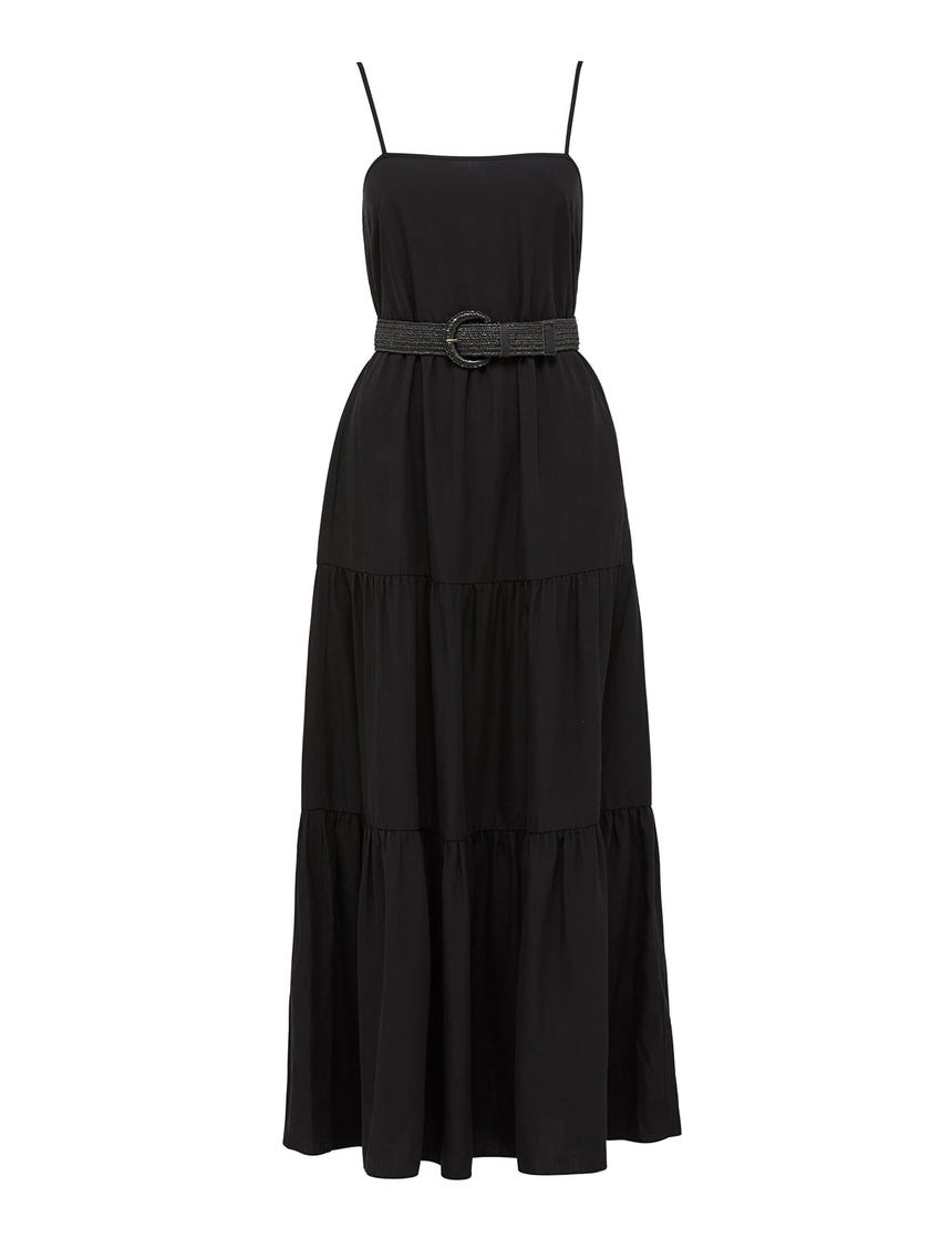 Tina Belted Tiered Maxi Dress
