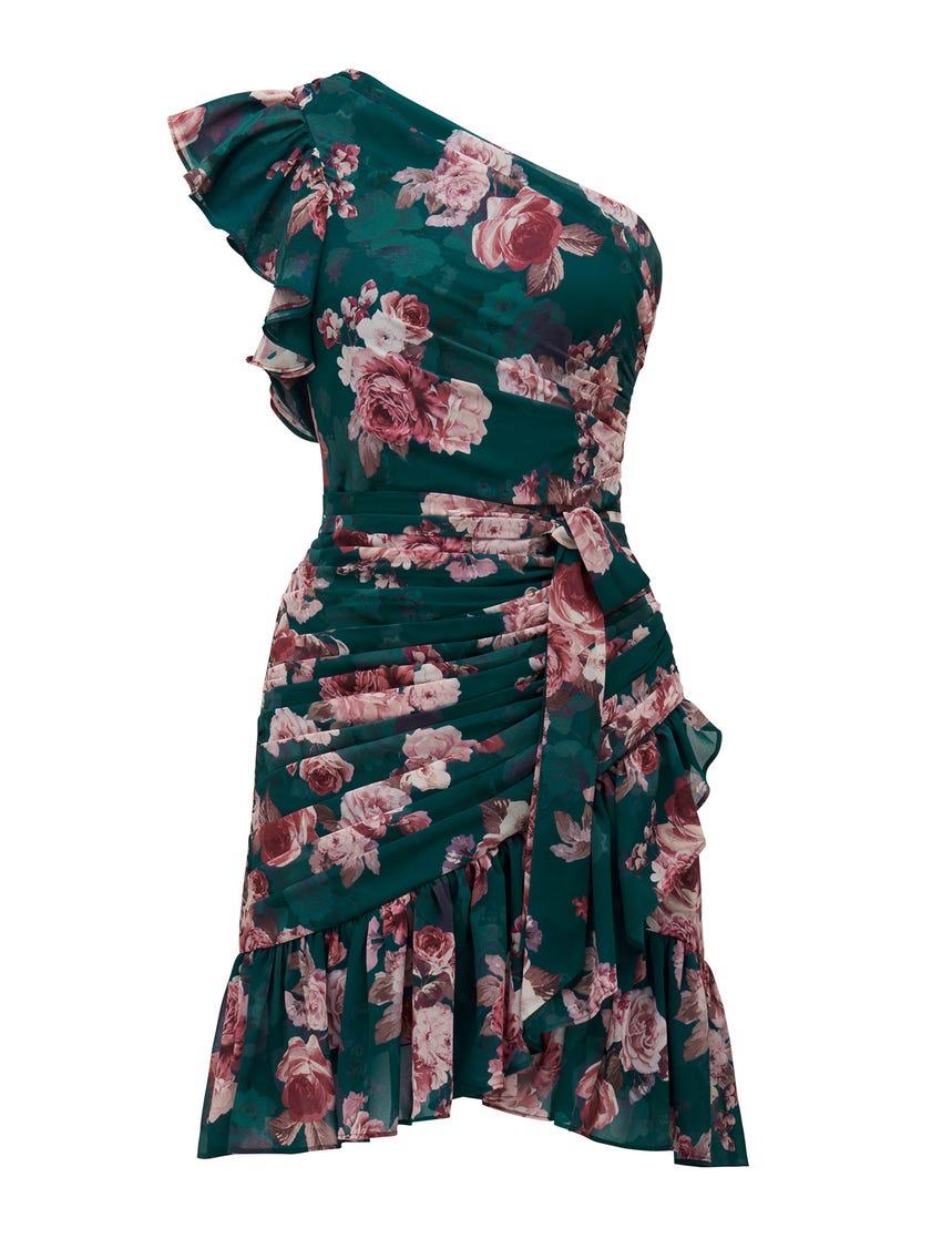 Anna One-Shoulder Ruched Mini Dress