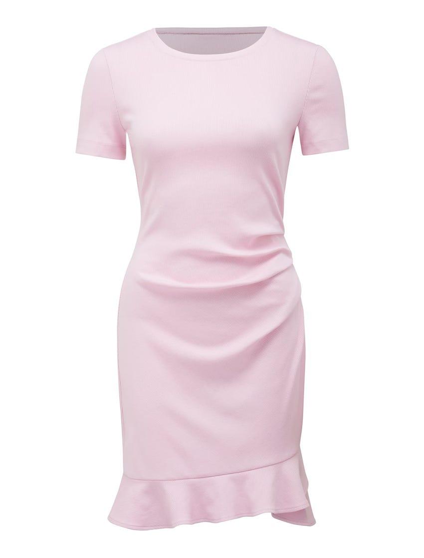 Annie Rib Short-Sleeve Frill Dress