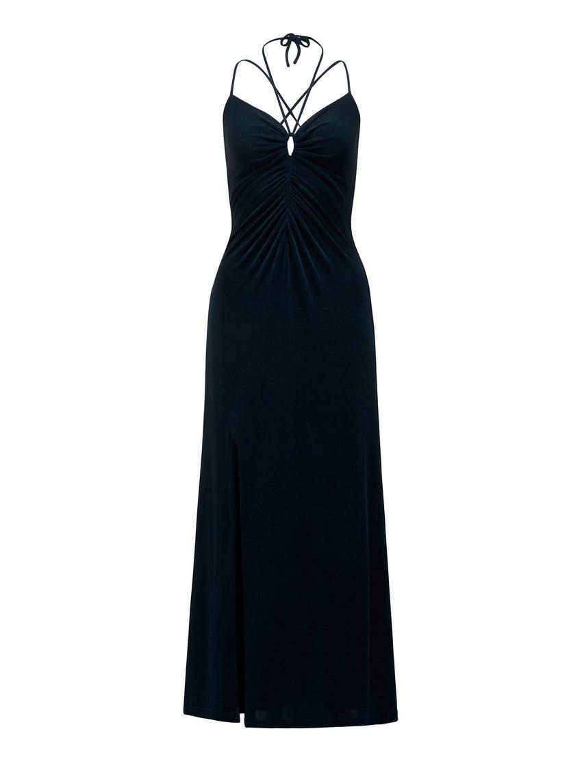 Keryn Ruched Glitter Maxi Dress