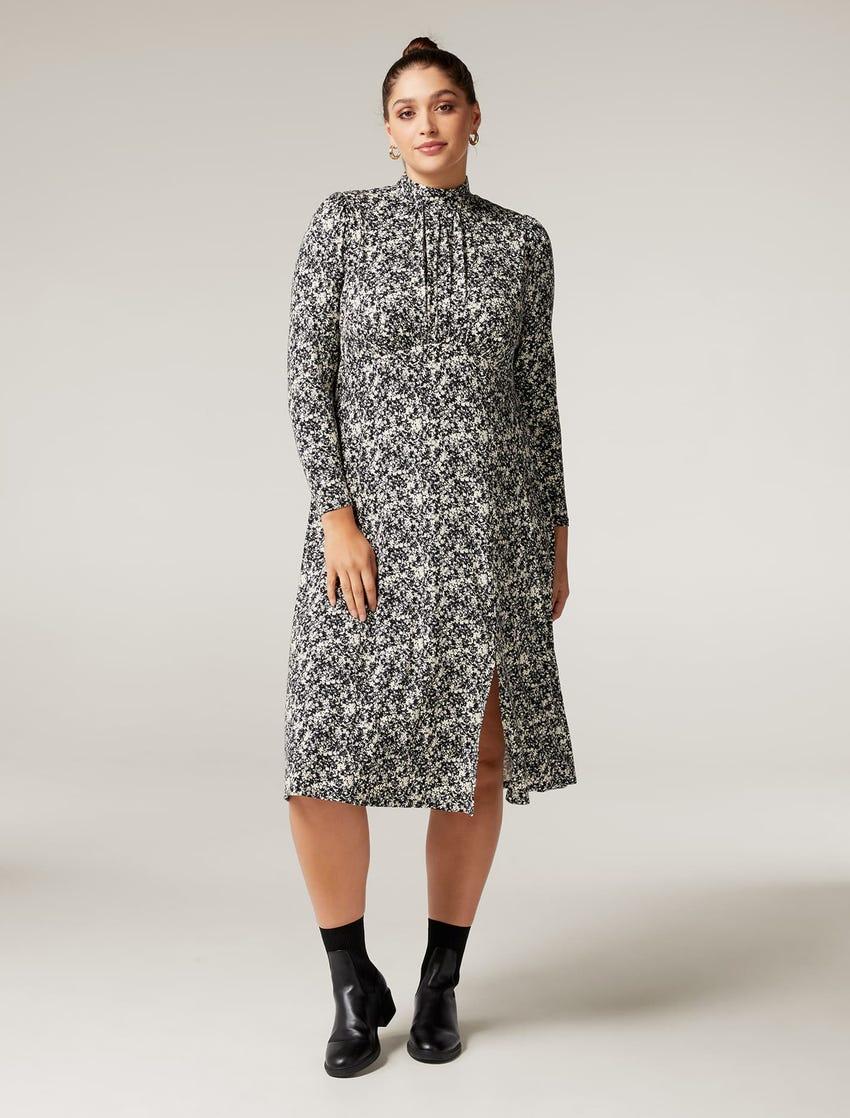 Dawson Curve High-Neck Midi Dress