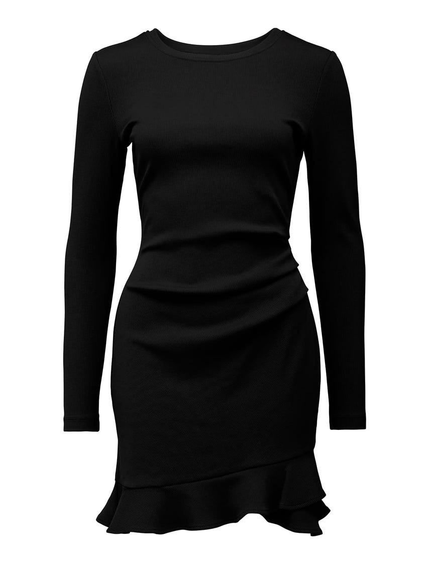 Annie Rib Long-Sleeve Frill Dress