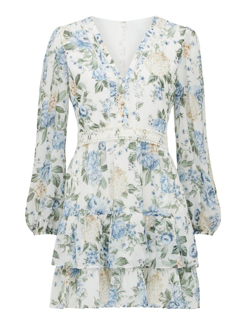Mae Long-Sleeve Ruffle Mini Dress