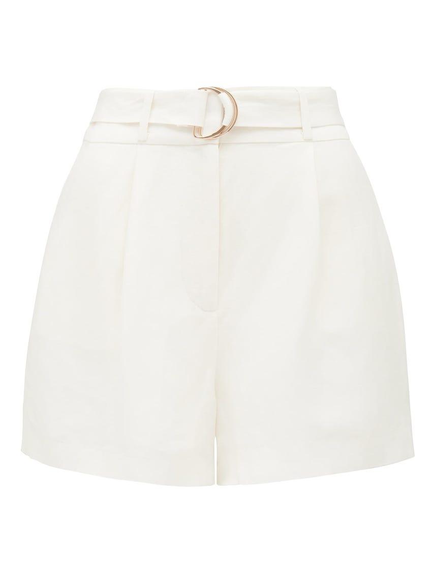 Clara Belted Linen Blend Shorts