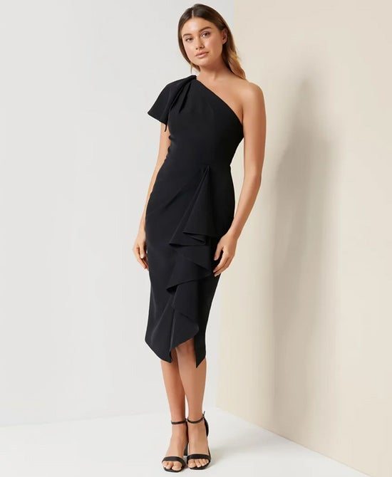 Black Off Shoulder Cocktail Dress