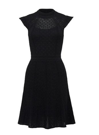 Ebony A-line Pointelle Knit Dress