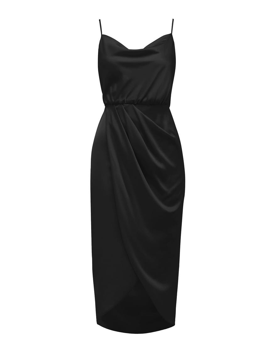 Elise Cowl-Neck Midi Dress