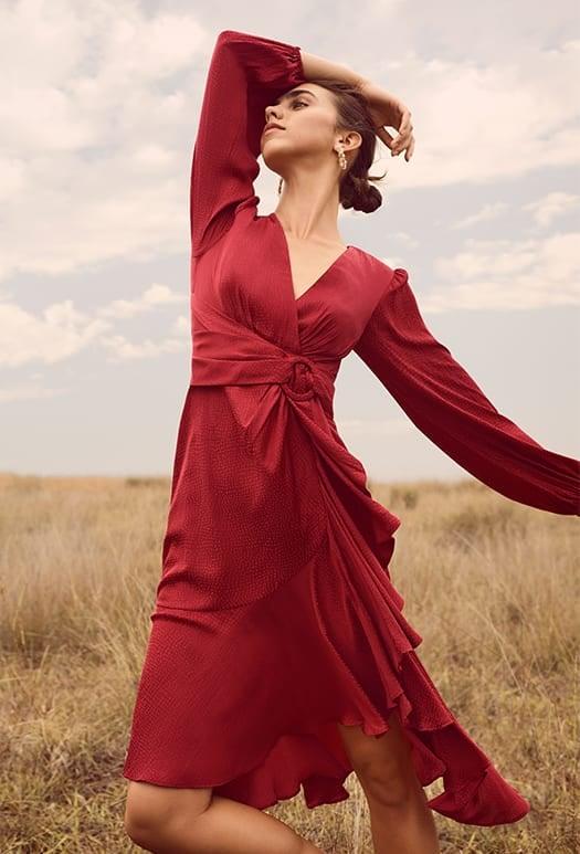 Lilian Balloon Sleeve Midi Dress