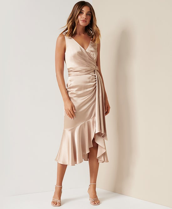 Forever New Cream Satin Dress