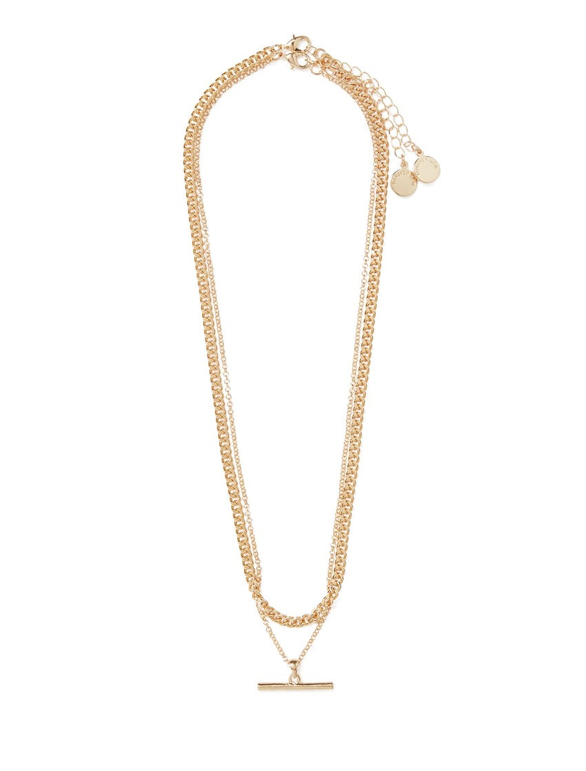 Hatty Double Chain & Bar Necklace