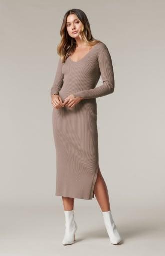 Kourtney V-Neck Rib Knit Dress