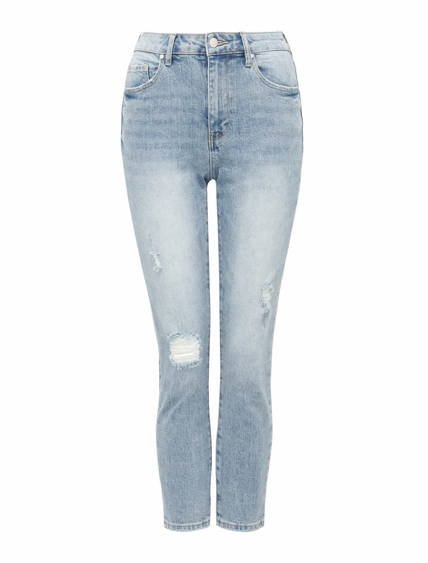 Isabel Mid-Rise Straight Cropped Jeans
