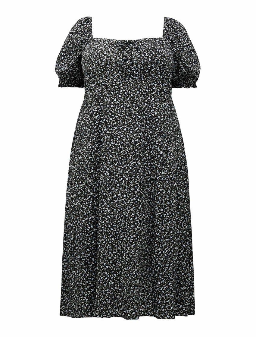 Mariah Curve Lace Up Midi Dress