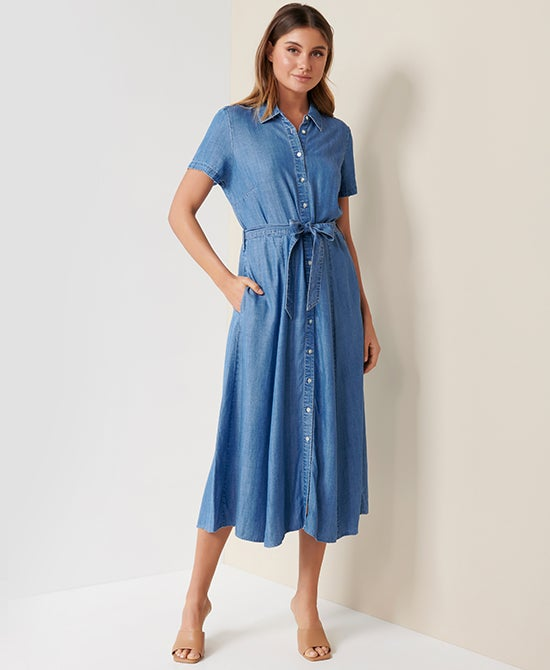 Forever New Denim Midi Dress