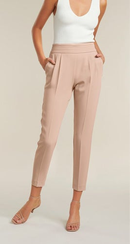 Zoe Petite Pleated Elastic-Back Pants