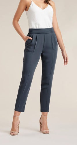 Zoe Pleated Elastic-Back Pants