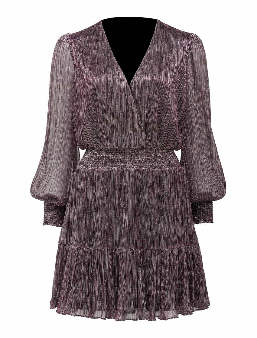 Perla Plisse Flippy Mini Dress