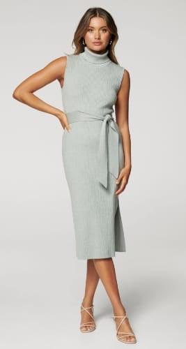 Emilia Roll-Neck Midi Knit Dress